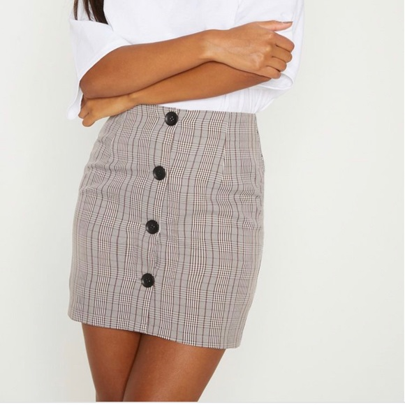 9b22cb2fead50 PLT  Brown Check Button Up High Waisted Skirt